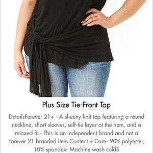 Forever 21 Tops - Forever 21+ Black Sheeny Knit Tie front top 3X